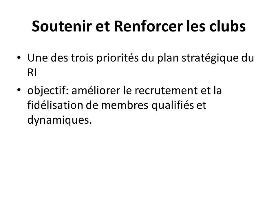 Soutenir et Renforcer les clubs Une des trois priorités du plan stratégique du RI objectif: améliorer le recrutement et la fidélisation de membres qualifiés et dynamiques.