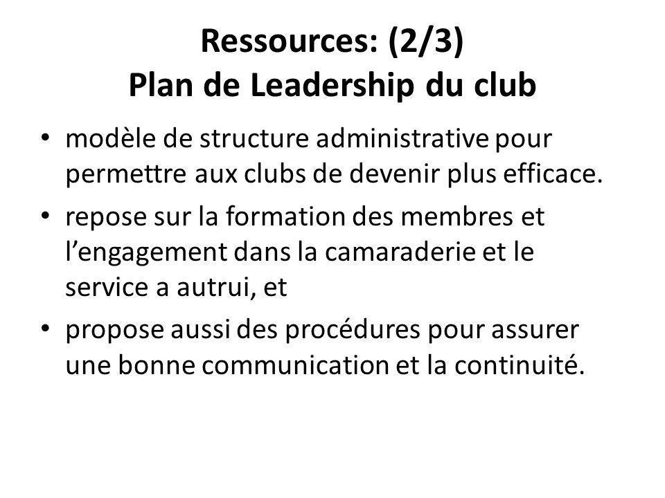 Ressources: (2/3) Plan de Leadership du club modèle de structure administrative pour permettre aux clubs de devenir plus efficace.