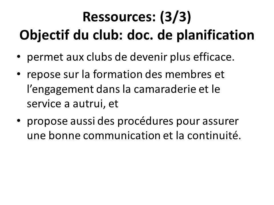 Ressources: (3/3) Objectif du club: doc.