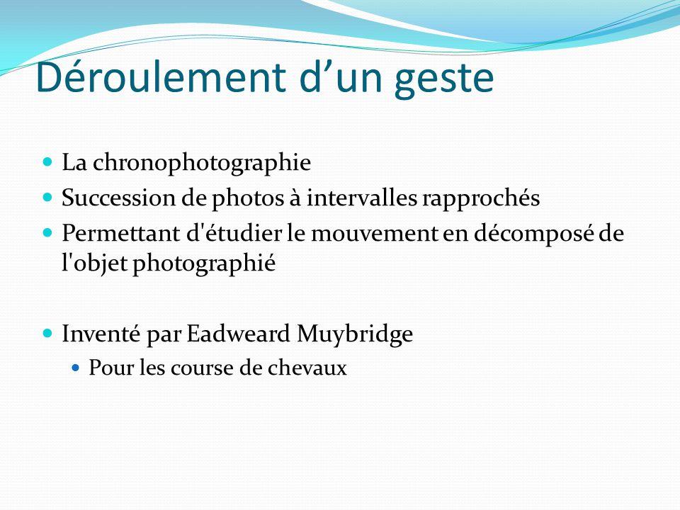 Déroulement d'un geste La chronophotographie Succession de photos à intervalles rapprochés Permettant d'étudier le mouvement en décomposé de l'objet p