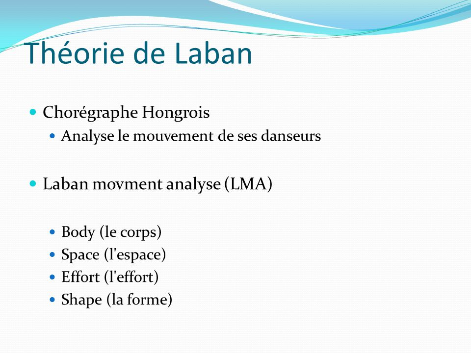 Théorie de Laban Chorégraphe Hongrois Analyse le mouvement de ses danseurs Laban movment analyse (LMA) Body (le corps) Space (l'espace) Effort (l'effo