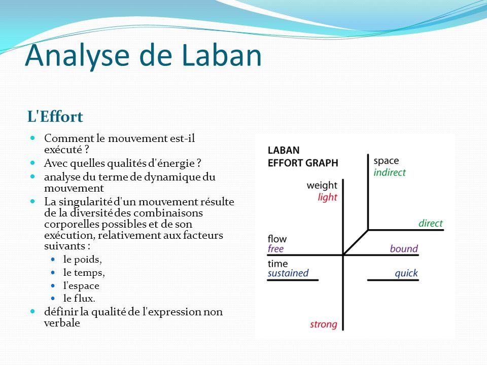 Analyse de Laban L'Effort Comment le mouvement est-il exécuté ? Avec quelles qualités d'énergie ? analyse du terme de dynamique du mouvement La singul