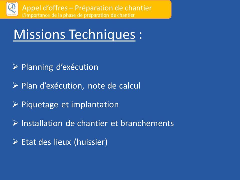 Missions Techniques :  Planning d'exécution  Plan d'exécution, note de calcul  Piquetage et implantation  Installation de chantier et branchements