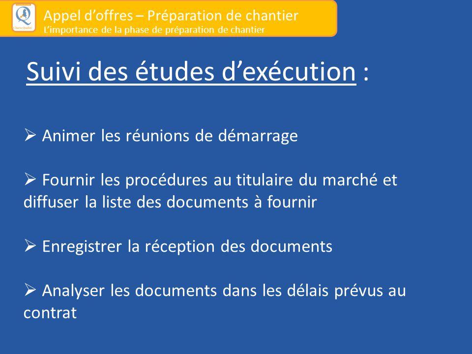 Suivi des études d'exécution :  Animer les réunions de démarrage  Fournir les procédures au titulaire du marché et diffuser la liste des documents à