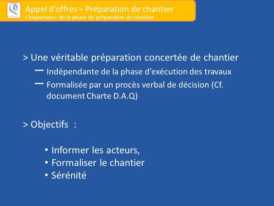 > Une véritable préparation concertée de chantier – Indépendante de la phase d'exécution des travaux – Formalisée par un procès verbal de décision (Cf