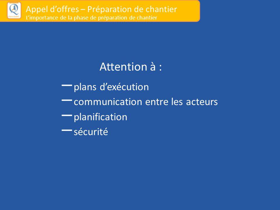 Attention à : – plans d'exécution – communication entre les acteurs – planification – sécurité Appel d'offres – Préparation de chantier L'importance d