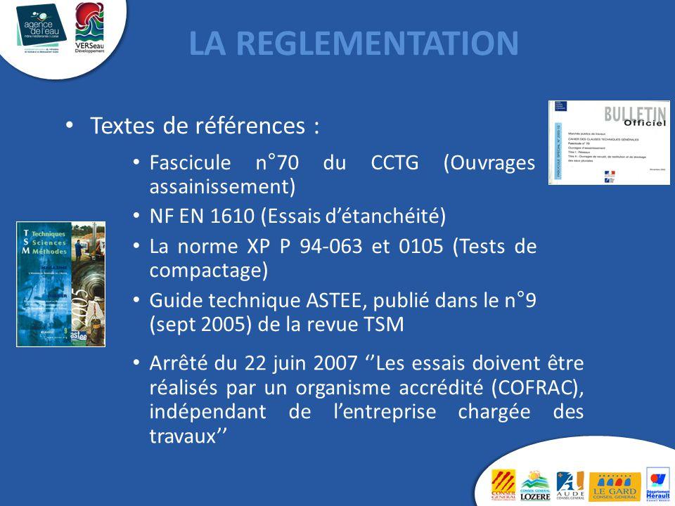 Textes de références : Fascicule n°70 du CCTG (Ouvrages assainissement) NF EN 1610 (Essais d'étanchéité) La norme XP P 94-063 et 0105 (Tests de compac