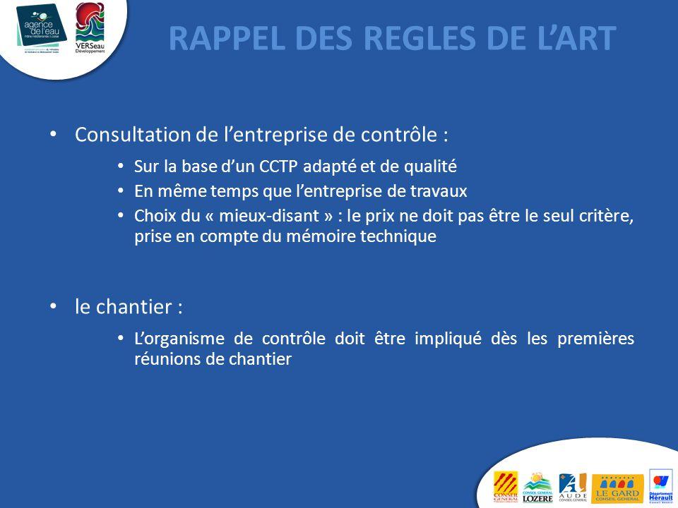 RAPPEL DES REGLES DE L'ART Consultation de l'entreprise de contrôle : Sur la base d'un CCTP adapté et de qualité En même temps que l'entreprise de tra