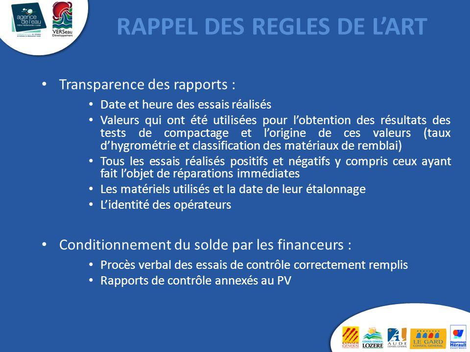 Transparence des rapports : Date et heure des essais réalisés Valeurs qui ont été utilisées pour l'obtention des résultats des tests de compactage et