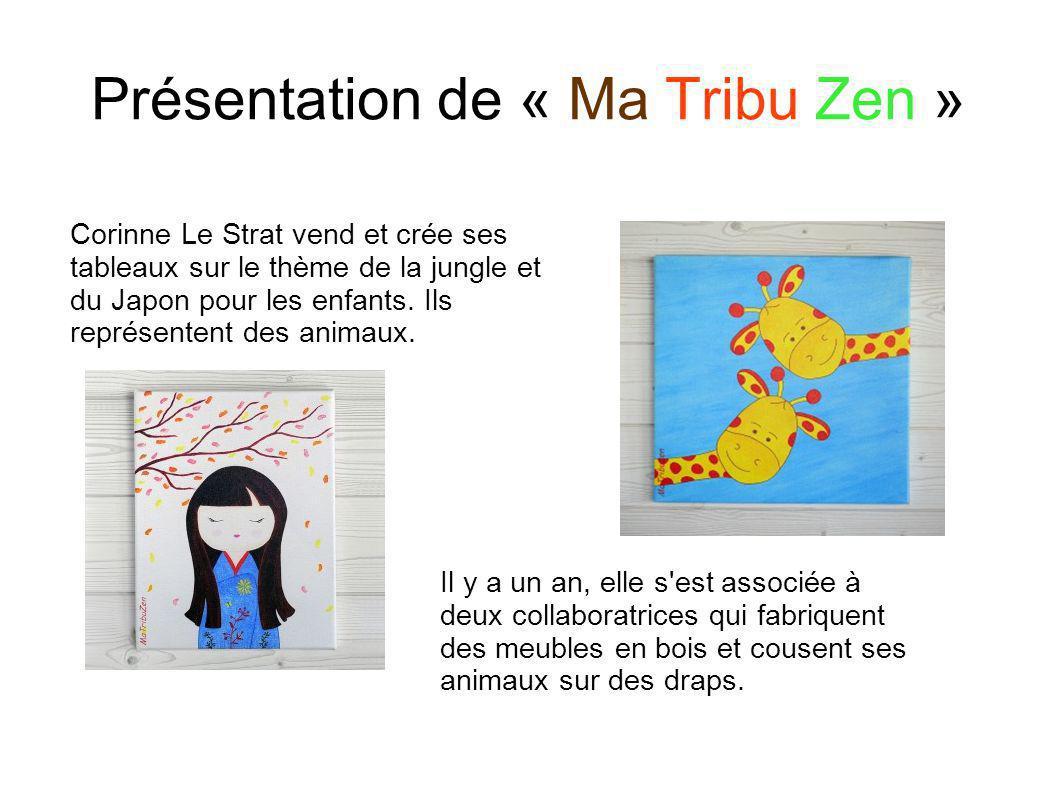 Présentation de « Ma Tribu Zen » Corinne Le Strat vend et crée ses tableaux sur le thème de la jungle et du Japon pour les enfants. Ils représentent d