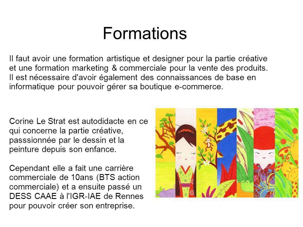 Formations Il faut avoir une formation artistique et designer pour la partie créative et une formation marketing & commerciale pour la vente des produ