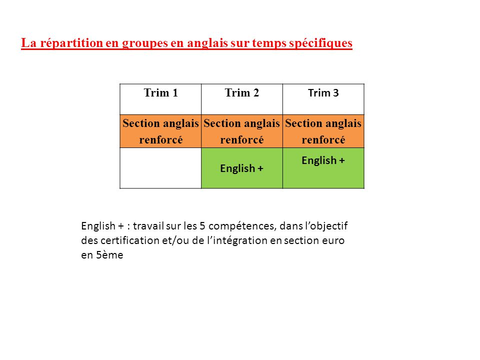 La répartition en groupes en anglais sur temps spécifiques Trim 1Trim 2 Trim 3 Section anglais renforcé English + English + : travail sur les 5 compétences, dans l'objectif des certification et/ou de l'intégration en section euro en 5ème