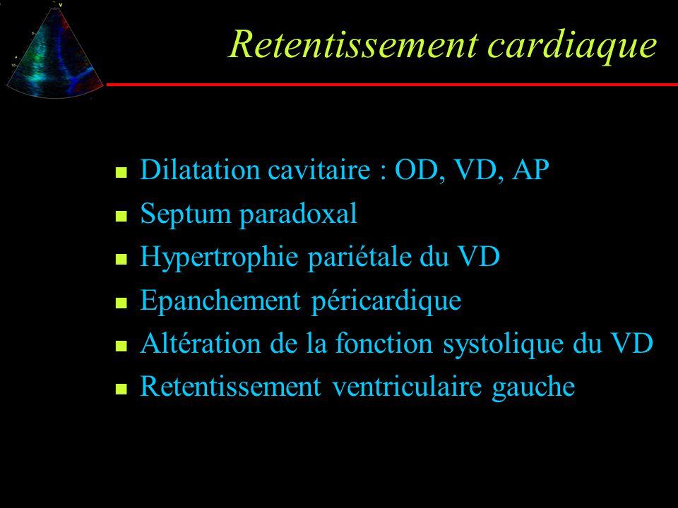 Retentissement cardiaque Dilatation cavitaire : OD, VD, AP Septum paradoxal Hypertrophie pariétale du VD Epanchement péricardique Altération de la fon