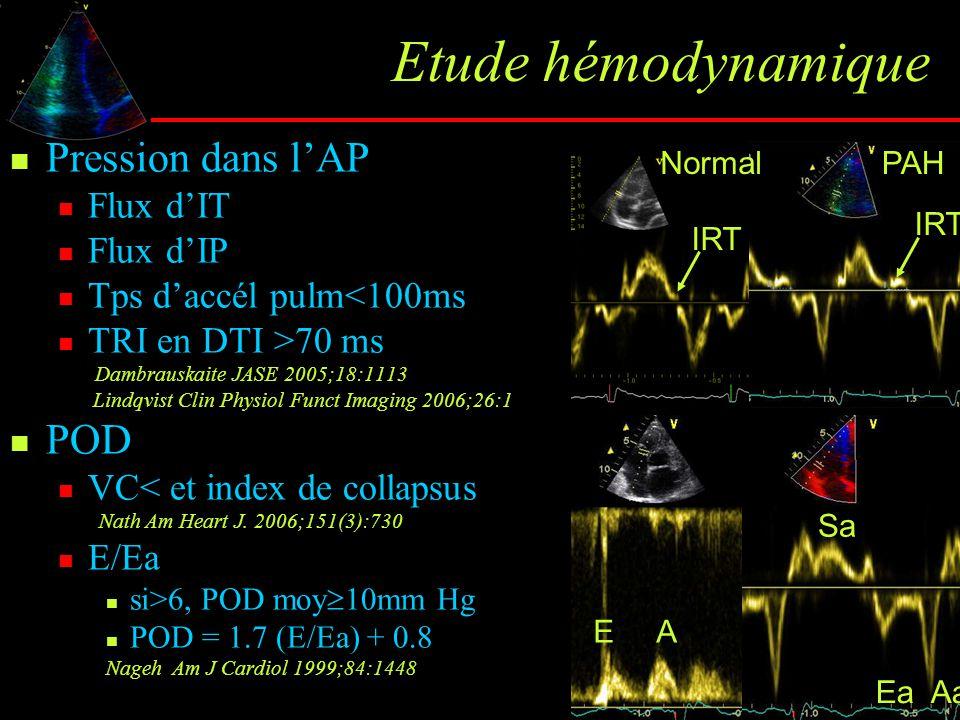 Etude hémodynamique Pression dans l'AP Flux d'IT Flux d'IP Tps d'accél pulm<100ms TRI en DTI >70 ms Dambrauskaite JASE 2005;18:1113 Lindqvist Clin Phy