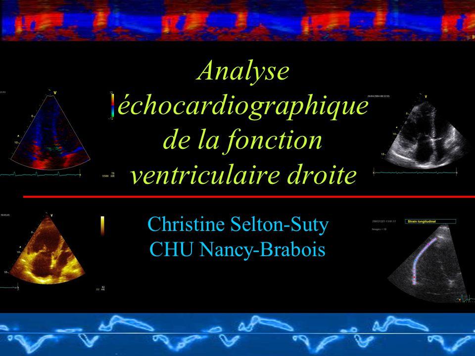 Analyse échocardiographique de la fonction ventriculaire droite Christine Selton-Suty CHU Nancy-Brabois