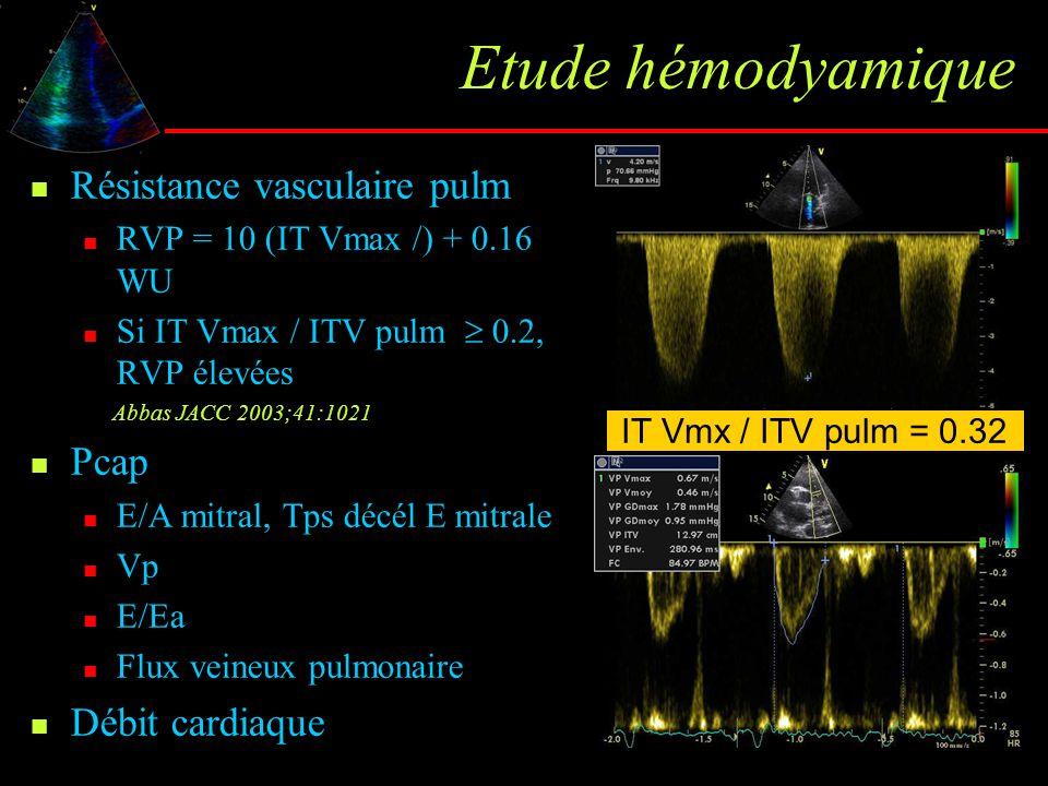 Etude hémodyamique Résistance vasculaire pulm RVP = 10 (IT Vmax /) + 0.16 WU Si IT Vmax / ITV pulm  0.2, RVP élevées Abbas JACC 2003;41:1021 Pcap E/A
