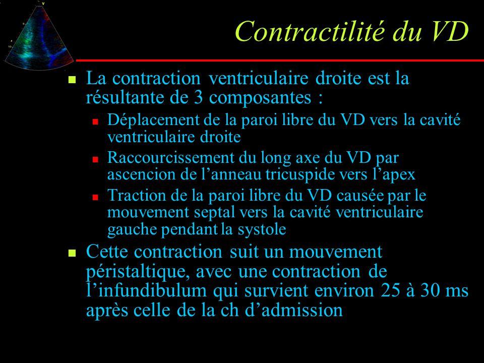 Contractilité du VD La contraction ventriculaire droite est la résultante de 3 composantes : Déplacement de la paroi libre du VD vers la cavité ventri