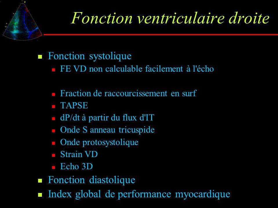 Fonction ventriculaire droite Fonction systolique FE VD non calculable facilement à l'écho Fraction de raccourcissement en surf TAPSE dP/dt à partir d