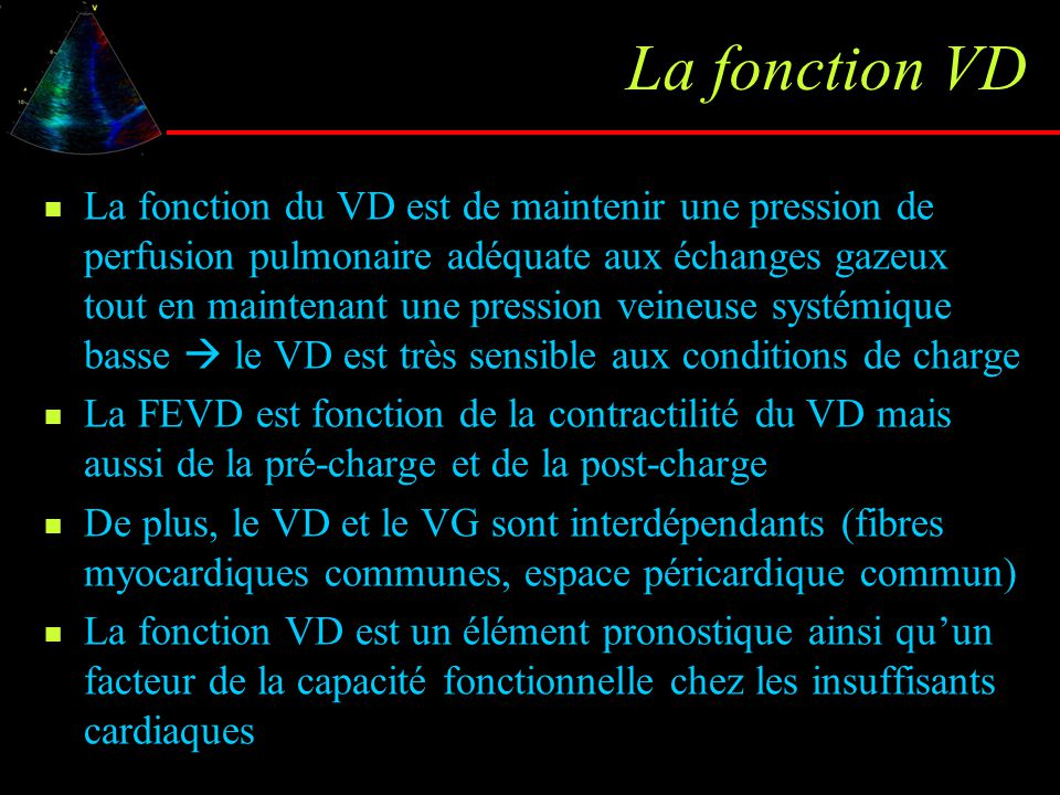 RV dysfunction RV area fractional shortening Normal values : RV FS : 40% ED RV area : 14 ±2 cm²/m² Correlates to radionuclide RVEF Improved by automed border detection