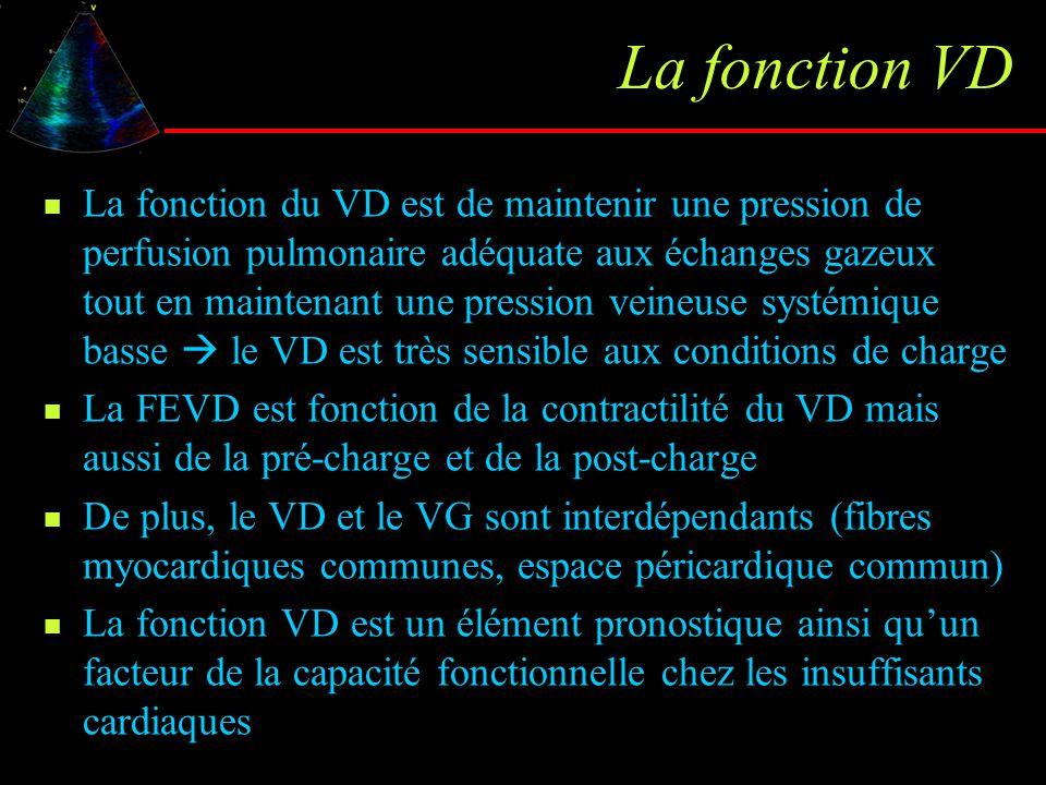 Contraction isovolumique en DTI Vmx pendant contraction isovolumétrique et son accélération (= CI Vmx / TA) sont des paramètres de contractilité VD Normales : CI acc = 2.96±1.06 m/s², CI Vmx 12.8±4.6 cm/s Corrélations avec FEVD par thermodilution chez CMD (CI acc r=0.711 / p=0.010 ; CI Vmx r=0.788 / p=0.002) TRI TA E A S CI Vmx TCI Vogel Circulation 2002;105:1693 - Lindqvist Eur J Echocardiography 2005;6:264 - Selton-Suty ESC 05
