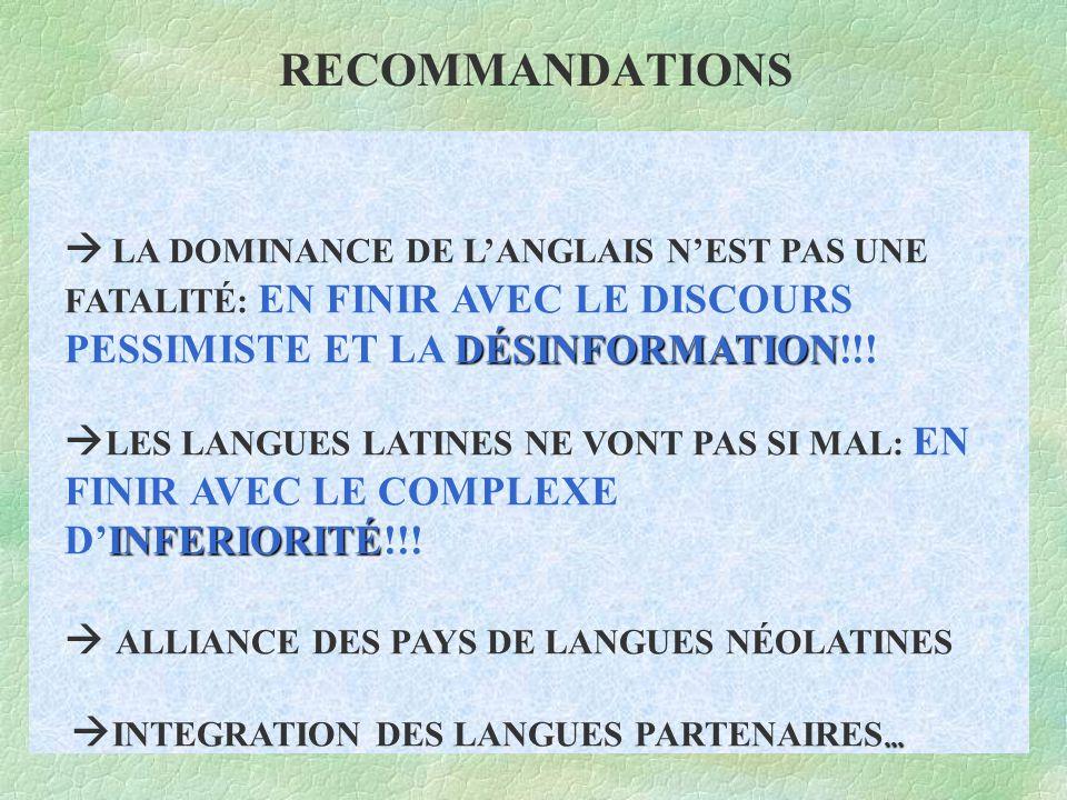 RECOMMANDATIONS DÉSINFORMATION INFERIORITÉ...