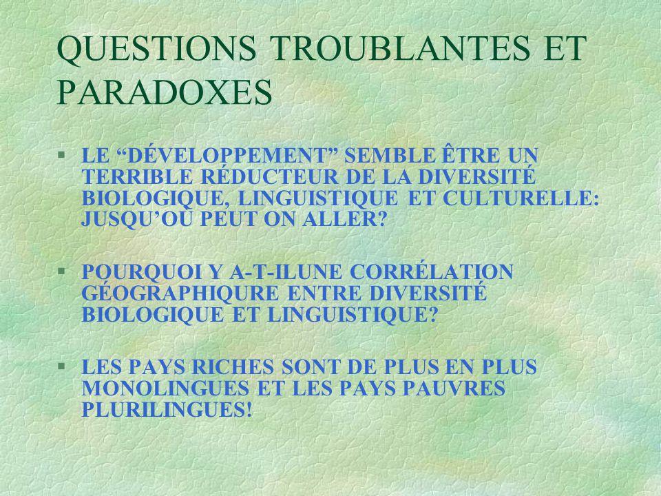 QUESTIONS TROUBLANTES ET PARADOXES §LE DÉVELOPPEMENT SEMBLE ÊTRE UN TERRIBLE RÉDUCTEUR DE LA DIVERSITÉ BIOLOGIQUE, LINGUISTIQUE ET CULTURELLE: JUSQU'OÙ PEUT ON ALLER.