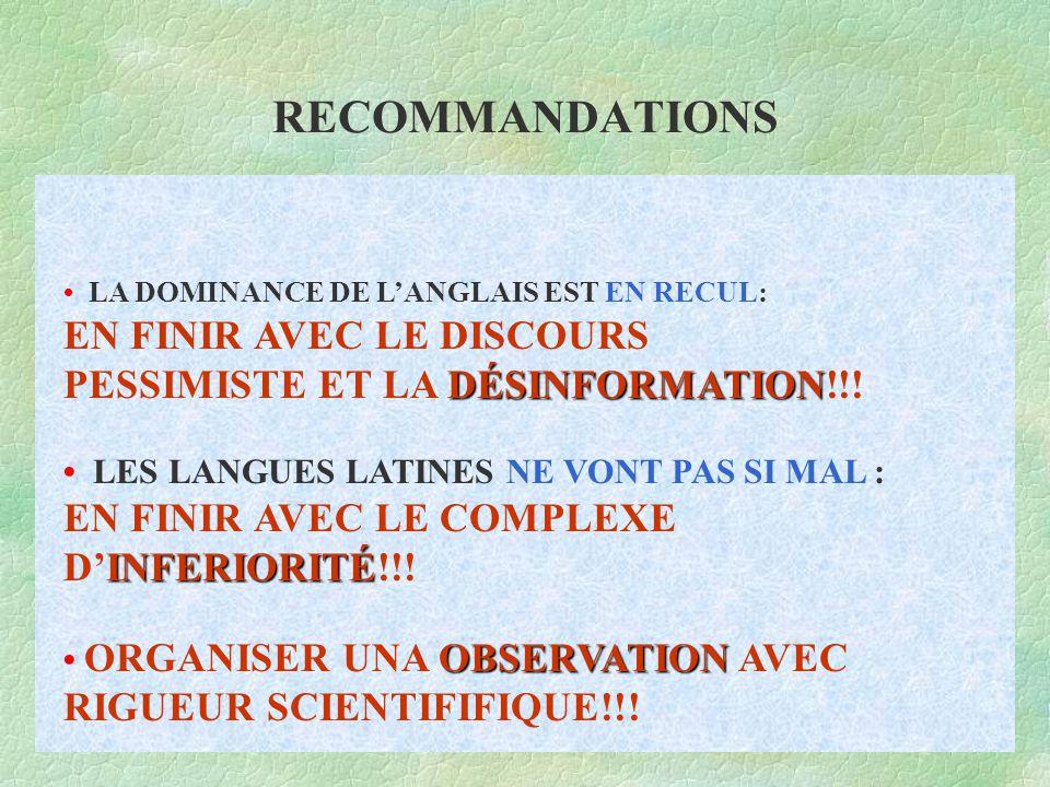 RECOMMANDATIONS DÉSINFORMATION INFERIORITÉ OBSERVATION LA DOMINANCE DE L'ANGLAIS EST EN RECUL: EN FINIR AVEC LE DISCOURS PESSIMISTE ET LA DÉSINFORMATION!!.