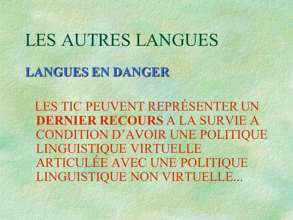 LES AUTRES LANGUES LANGUES EN DANGER LES TIC PEUVENT REPRÉSENTER UN DERNIER RECOURS A LA SURVIE A CONDITION D'AVOIR UNE POLITIQUE LINGUISTIQUE VIRTUELLE ARTICULÉE AVEC UNE POLITIQUE LINGUISTIQUE NON VIRTUELLE...