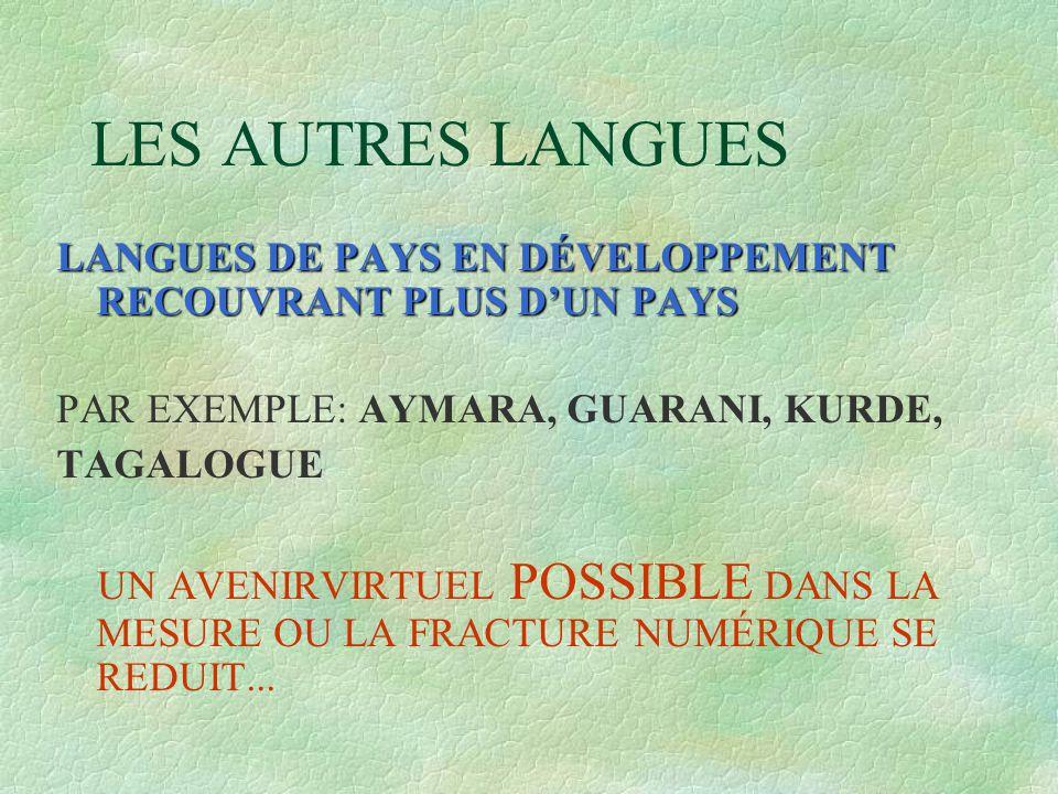 LES AUTRES LANGUES LANGUES DE PAYS EN DÉVELOPPEMENT RECOUVRANT PLUS D'UN PAYS PAR EXEMPLE: AYMARA, GUARANI, KURDE, TAGALOGUE UN AVENIRVIRTUEL POSSIBLE DANS LA MESURE OU LA FRACTURE NUMÉRIQUE SE REDUIT...
