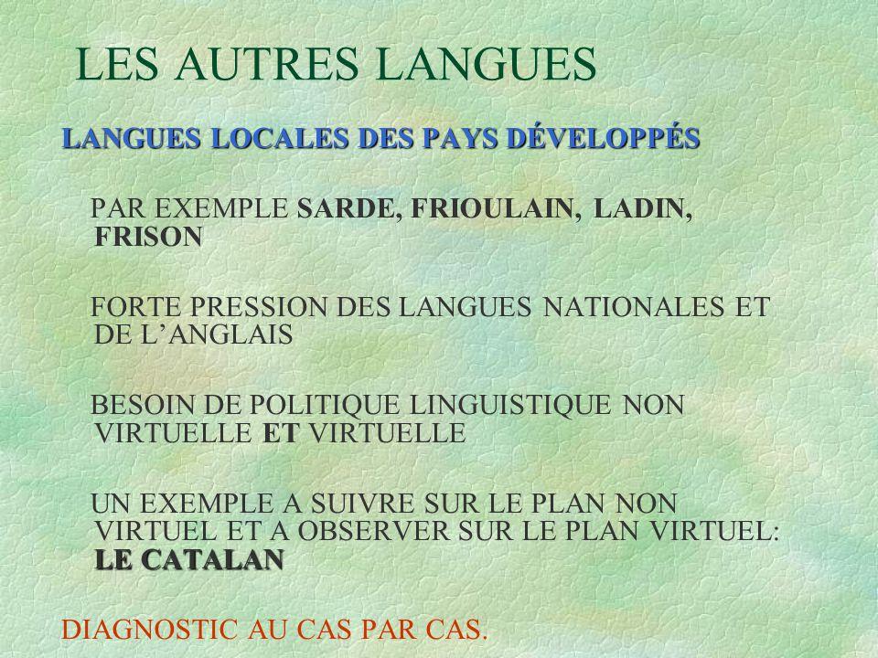 LES AUTRES LANGUES LANGUES LOCALES DES PAYS DÉVELOPPÉS PAR EXEMPLE SARDE, FRIOULAIN, LADIN, FRISON FORTE PRESSION DES LANGUES NATIONALES ET DE L'ANGLA