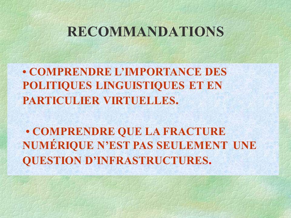 RECOMMANDATIONS COMPRENDRE L'IMPORTANCE DES POLITIQUES LINGUISTIQUES ET EN PARTICULIER VIRTUELLES.