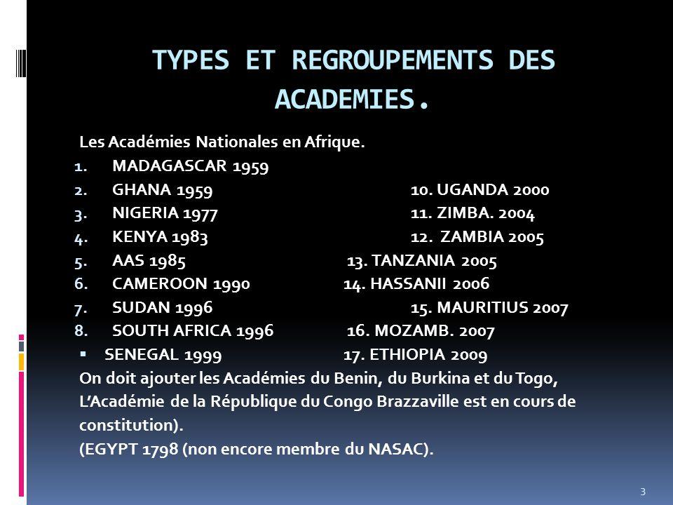 TYPES ET REGROUPEMENTS DES ACADEMIES. Les Académies Nationales en Afrique. 1. MADAGASCAR 1959 2. GHANA 195910. UGANDA 2000 3. NIGERIA 1977 11. ZIMBA.
