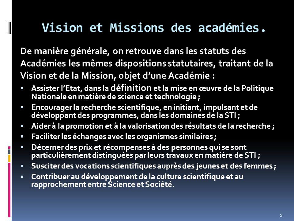 Vision et Missions des académies. De manière générale, on retrouve dans les statuts des Académies les mêmes dispositions statutaires, traitant de la V