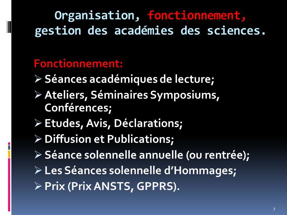 Organisation, fonctionnement, gestion des académies des sciences. Fonctionnement:  Séances académiques de lecture;  Ateliers, Séminaires Symposiums,