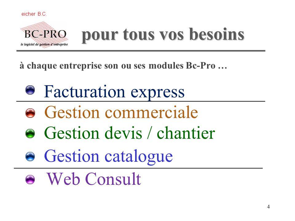 4 Gestion commerciale Gestion devis / chantier Gestion catalogue à chaque entreprise son ou ses modules Bc-Pro … Web Consult eicher B.C.