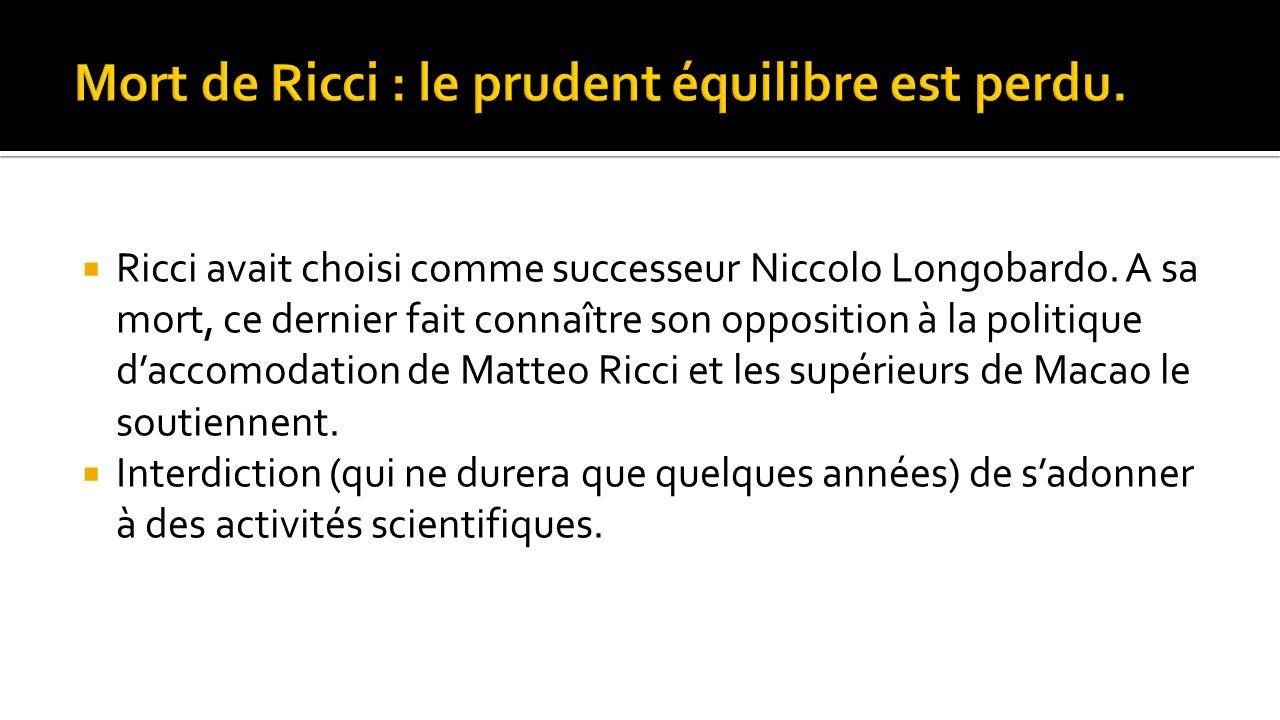  Ricci avait choisi comme successeur Niccolo Longobardo. A sa mort, ce dernier fait connaître son opposition à la politique d'accomodation de Matteo