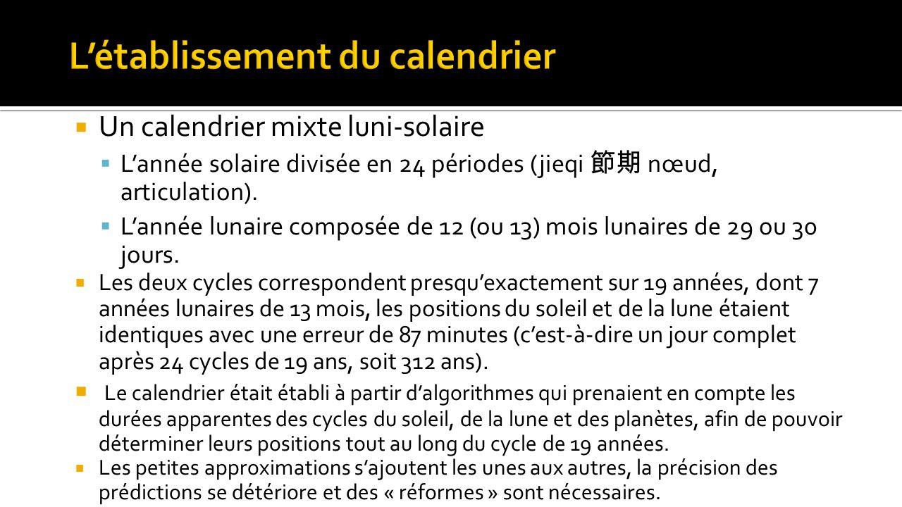  Un calendrier mixte luni-solaire  L'année solaire divisée en 24 périodes (jieqi 節期 nœud, articulation).  L'année lunaire composée de 12 (ou 13) mo