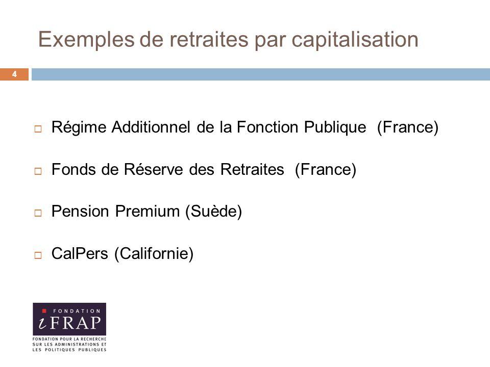 Exemples de retraites par capitalisation  Régime Additionnel de la Fonction Publique (France)  Fonds de Réserve des Retraites (France)  Pension Premium (Suède)  CalPers (Californie) 4