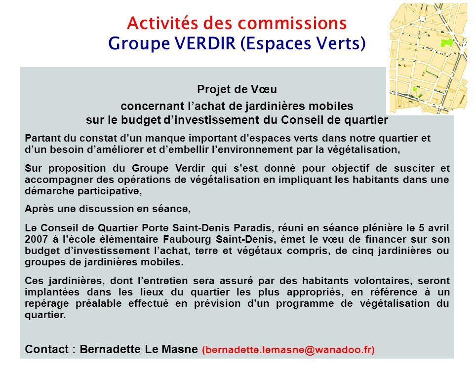 10 Activités des commissions Groupe VERDIR (Espaces Verts) Projet de Vœu concernant l'achat de jardinières mobiles sur le budget d'investissement du C