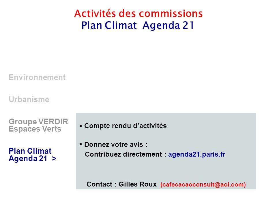 11 Environnement Urbanisme Groupe VERDIR Espaces Verts Plan Climat Agenda 21 > Activités des commissions Plan Climat Agenda 21  Compte rendu d'activi