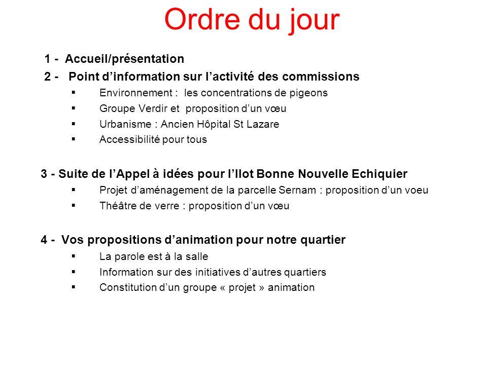 3 Ordre du jour 1 - Accueil/présentation 2 - Point d'information sur l'activité des commissions  Environnement : les concentrations de pigeons  Grou