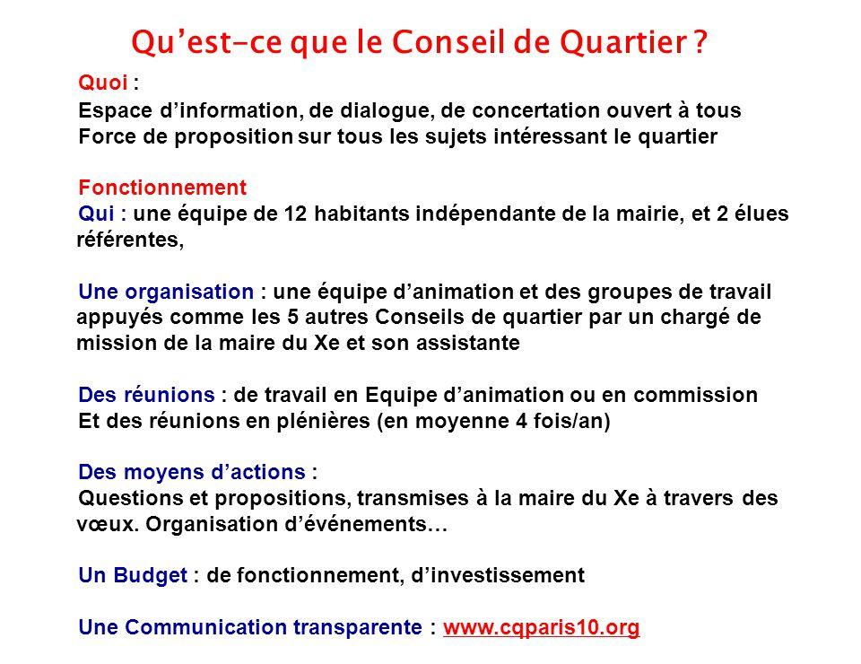 5 Quoi : Espace d'information, de dialogue, de concertation ouvert à tous Force de proposition sur tous les sujets intéressant le quartier Fonctionnem