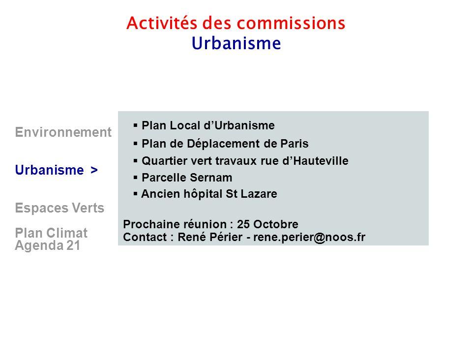 8 Environnement Urbanisme > Espaces Verts Plan Climat Agenda 21 Activités des commissions Urbanisme  Plan Local d'Urbanisme  Plan de Déplacement de