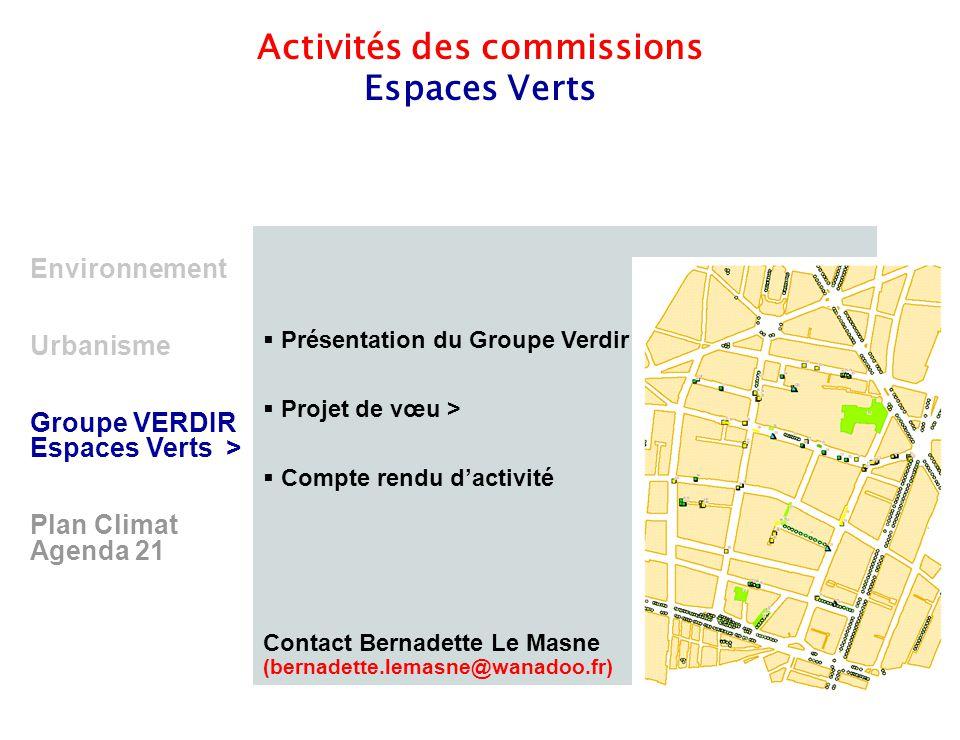 9 Environnement Urbanisme Groupe VERDIR Espaces Verts > Plan Climat Agenda 21 Activités des commissions Espaces Verts  Présentation du Groupe Verdir
