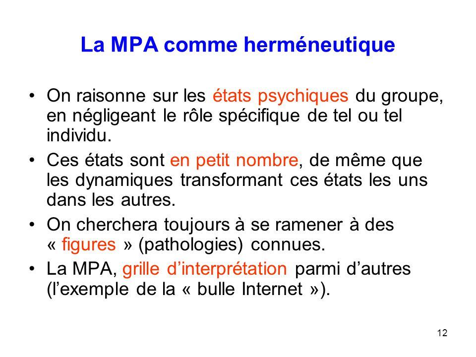 12 La MPA comme herméneutique On raisonne sur les états psychiques du groupe, en négligeant le rôle spécifique de tel ou tel individu. Ces états sont