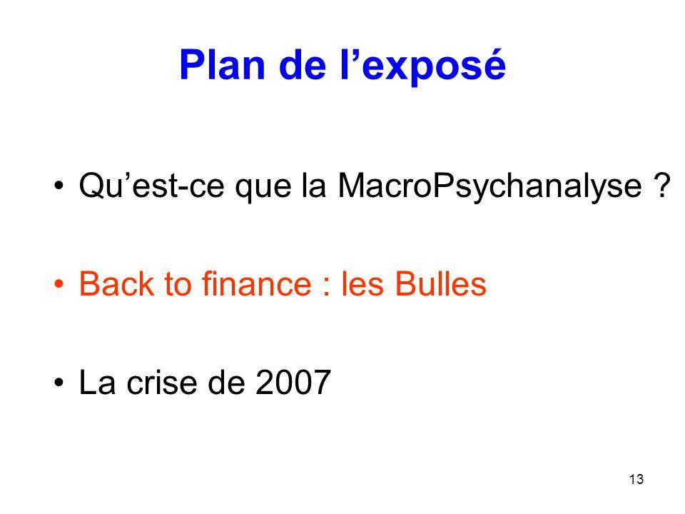 13 Plan de l'exposé Qu'est-ce que la MacroPsychanalyse ? Back to finance : les Bulles La crise de 2007