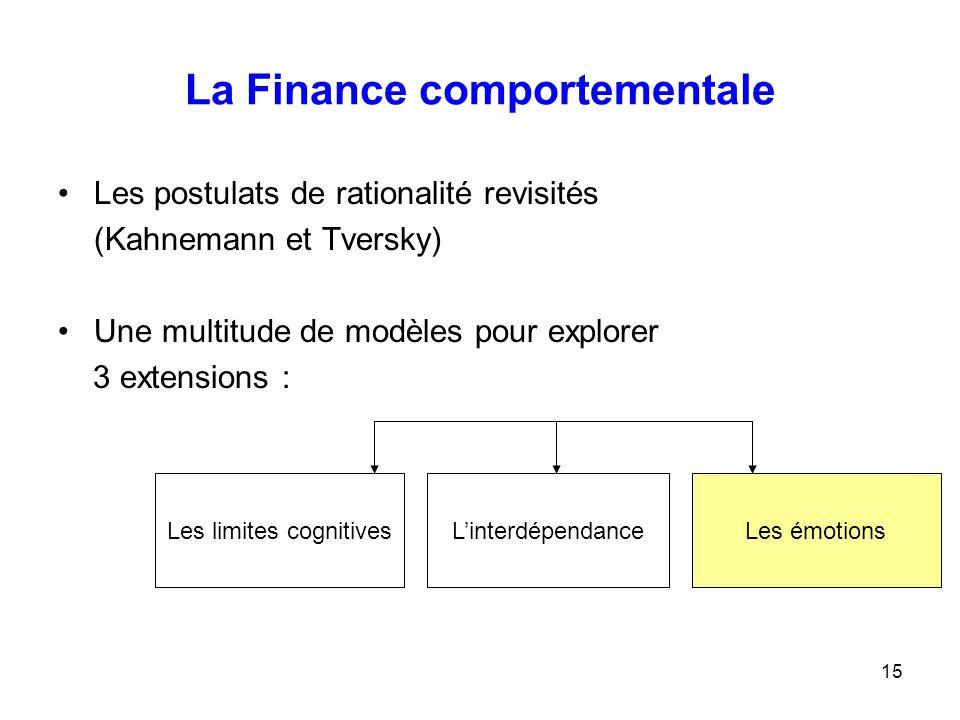 15 La Finance comportementale Les postulats de rationalité revisités (Kahnemann et Tversky) Une multitude de modèles pour explorer 3 extensions : Les