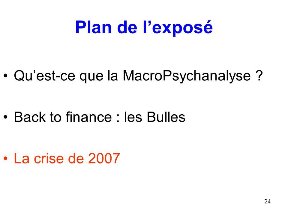 24 Plan de l'exposé Qu'est-ce que la MacroPsychanalyse ? Back to finance : les Bulles La crise de 2007
