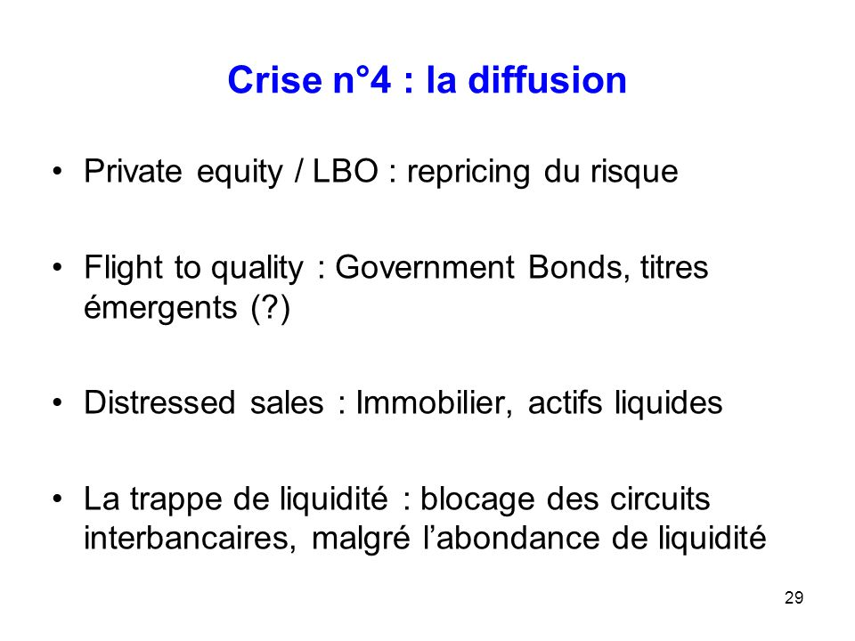 29 Crise n°4 : la diffusion Private equity / LBO : repricing du risque Flight to quality : Government Bonds, titres émergents (?) Distressed sales : I