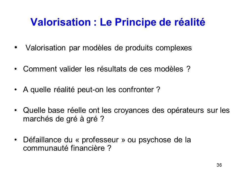 36 Valorisation : Le Principe de réalité Valorisation par modèles de produits complexes Comment valider les résultats de ces modèles ? A quelle réalit